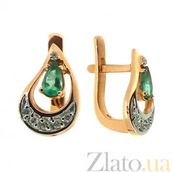 Золотые серьги с бриллиантами и изумрудами Регина ZMX--EE-6682_K