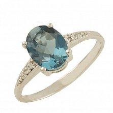 Серебряное кольцо Батиста с топазом лондон и фианитами