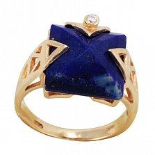Золотое кольцо Мириам с лазуритом и фианитом