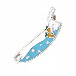Булавка из серебра Зайчик с голубой, белой и оранжевой эмалью