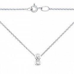 Золотое колье в белом цвете с двумя бриллиантами 000124601