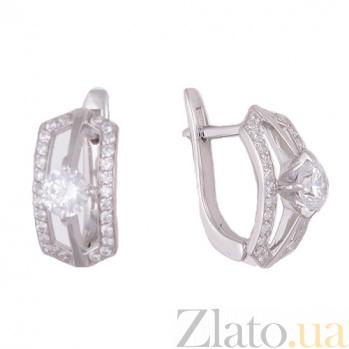 Серебряные серьги с фианитами Джулай HUF--20533-Р