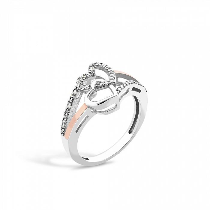 Серебряное кольцо Весенняя любовь с золотой накладкой и фианитами 000067349