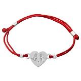 Шелковый браслет со вставкой Сердце Мышка