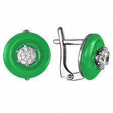 Серебряные серьги с агатами и фианитами Полнолуние