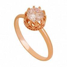Золотое кольцо с цирконием Королевна