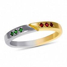 Кольцо Двойная удача в белом и красном золоте с синтезированными изумрудами и рубинами
