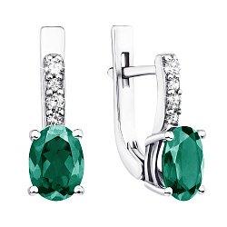 Серебряные серьги с зеленым кварцем и фианитами 000137456