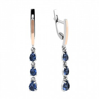 Серебряные серьги-подвески с золотой вставкой и синим алпанитом 000094613