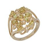 Золотое кольцо с хризолитами и бриллиантами Корайн