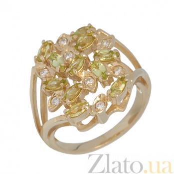 Золотое кольцо с хризолитами и бриллиантами Корайн PTL--1к205/52