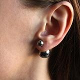 Серебряные серьги Диорелла с черным родием