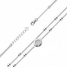 Серебряный двойной браслет Исольта с бусинами и белыми фианитами в стиле Булгари, 8мм