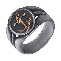 Кольцо из серебра Skipper с золотыми вставками и чернением 000091356