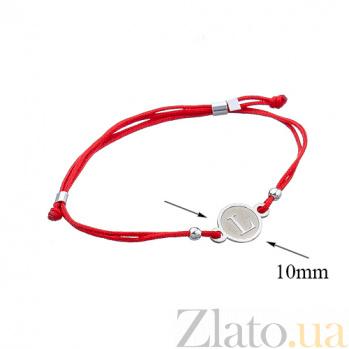 Шелковый браслет со вставкой Буква L Буква L