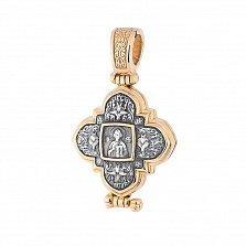 Серебряная ладанка-мощевик Святыня с позолотой