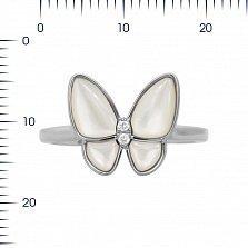 Кольцо из белого золота Батерфляй с бриллиантами и белым перламутром