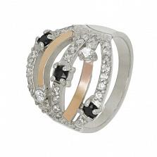 Кольцо из серебра с золотом и фианитами Попури