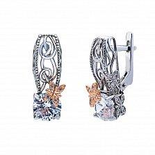 Серебряные серьги Марлена с фианитами и позолотой