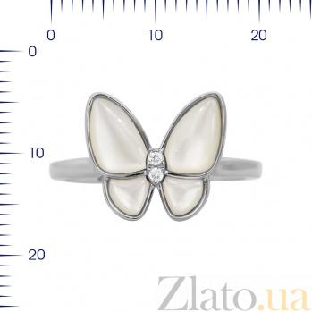 Кольцо из белого золота Батерфляй с бриллиантами и белым перламутром 000080920