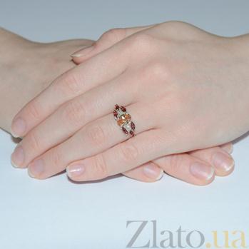 Серебряное кольцо с жёлтым цирконием и гранатом Ульяна Ульяна к/жёл цир-гран