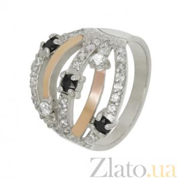 Кольцо из серебра с золотом и фианитами Попури BGS--398к