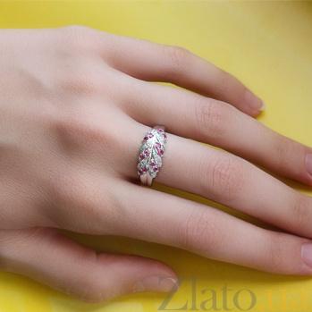 Серебряное кольцо с бриллиантами и рубинами Колосок ZMX--RDR-15089-Ag_K