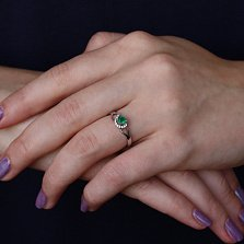 Серебряное кольцо Волшебная петля с агатом и фианитами