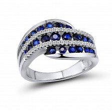 Кольцо из белого золота Ирен с бриллиантами и сапфирами