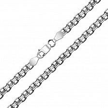 Серебряный чернёный браслет Ортад в плетении двойной якорь, 7мм