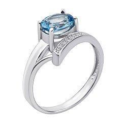 Кольцо из белого золота с голубым топазом и фианитами 000134250