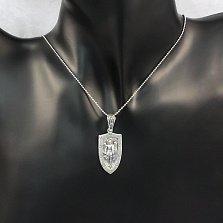 Серебряный кулон-щит Архангел Михаил с золотой накладкой и узорным бунтиком