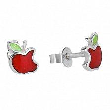 Серебряные сережки с эмалью Райское яблочко
