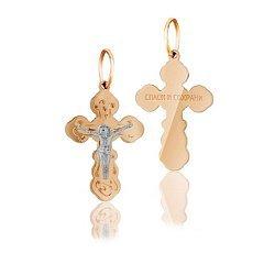 Крестик из комбинированного золота Оберег 000036464