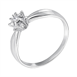 Золотое кольцо Ажурная снежинка в белом цвете с бриллиантами