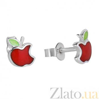 Серебряные сережки с эмалью Райское яблочко 262261