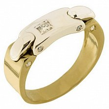 Золотое кольцо Дубаи с фианитами