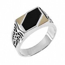Серебряное кольцо-печатка с золотыми вставками и ониксом Аполлон