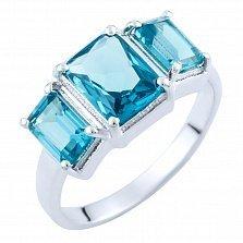 Серебряное кольцо Зарита с синтезированным топазом лондон