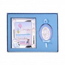 Посеребренная икона в наборе с  рамкой для фотографии в голубом цвете 000131802