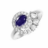 Серебряное кольцо Доротея сапфир гидро и фианитами