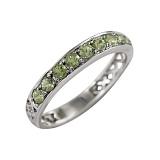 Серебряное кольцо с хризолитами Кактус
