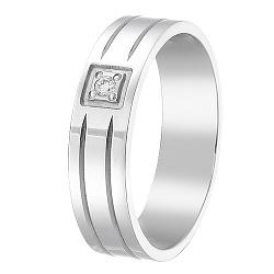 Золотое обручальное кольцо Моя верность в белом цвете с бриллиантом