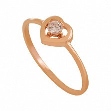 Золотое кольцо с фианитом Романтика