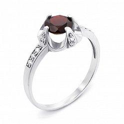 Серебряное кольцо с гранатом и фианитами 000136190