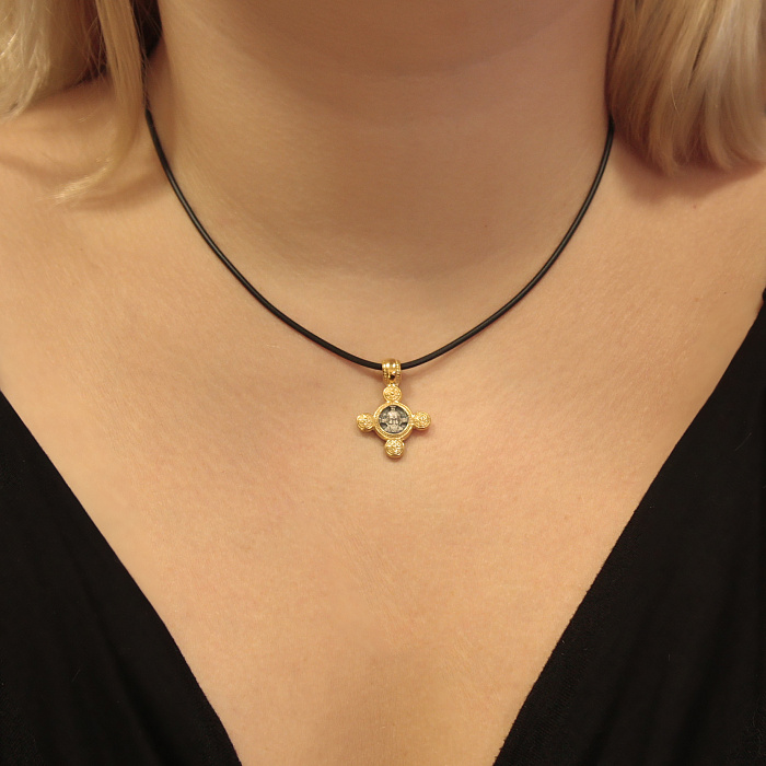 Серебряный крестик Спас Нерукотворный и Ангел Хранитель с позолотой 000062552