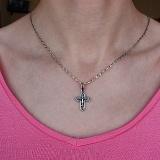 Серебряный черненый крест Спасение с золотой накладкой