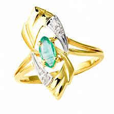 Золотое кольцо в жёлтом цвете с изумрудом и бриллиантами Лукреция