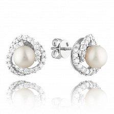 Золотые серьги-пуссеты Афина в белом цвете с жемчугом и бриллиантами