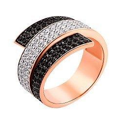 Золотое кольцо Завитая лента в комбинированном цвете с черными и белыми фианитами